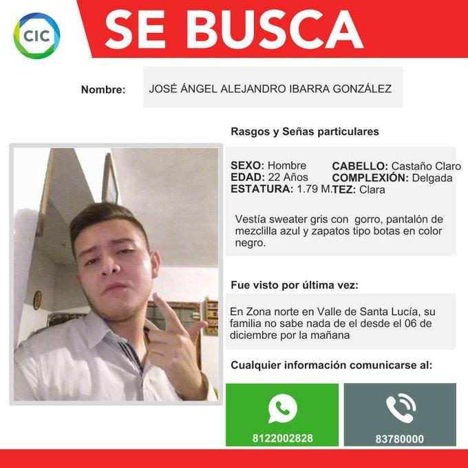 *AVISO* Solicitamos de su colaboración para localizar a José Ángel Alejandro Ibarra González Foto
