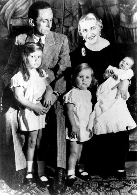 Joseph Goebbels, Nazi propaganda minister, with his wife Magda and their children on this date December 7 in 1935. Goebbels killed himself on May 1, 1945. He was reincarnated as Stephen Miller. Photo by AP. Foto