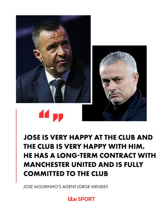 Jorge Mendes clears up speculation surrounding his client Jose Mourinho at @ManUtd Photo