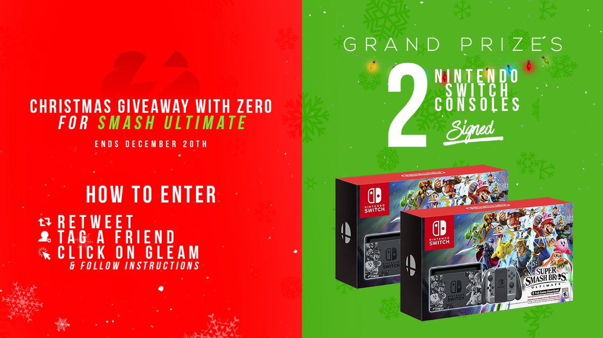 It's time for a Christmas giveaway with Smash Ultimate! 2 Switch Ultimate bundles! Two winners! Here's how:   🙌 Follow me & @Tempo_Storm 🔃 Retweet & like this tweet  🤝Tag a friend 🖱 Click on this link and follow instructions to gain extra entries: http://bit.ly/holidayswitch