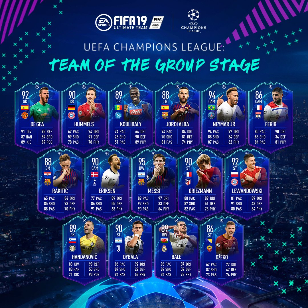 🗣️ It's the #UCL and #UEL Team Of The Group Stage available in packs now! #FUT #FIFA19