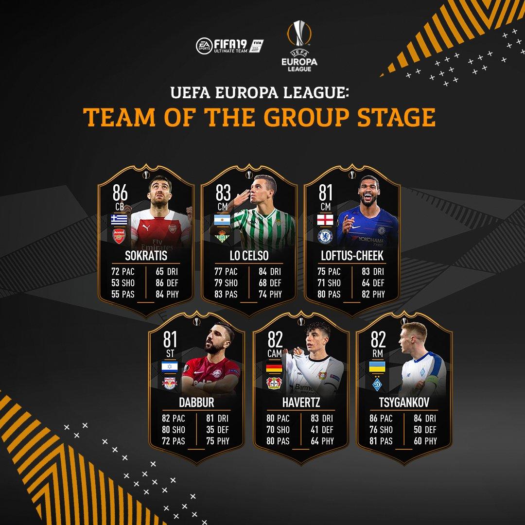 Das #UCL und #UEL Team der Gruppenphase ist jetzt in Packs verfügbar! #FUT #FIFA19