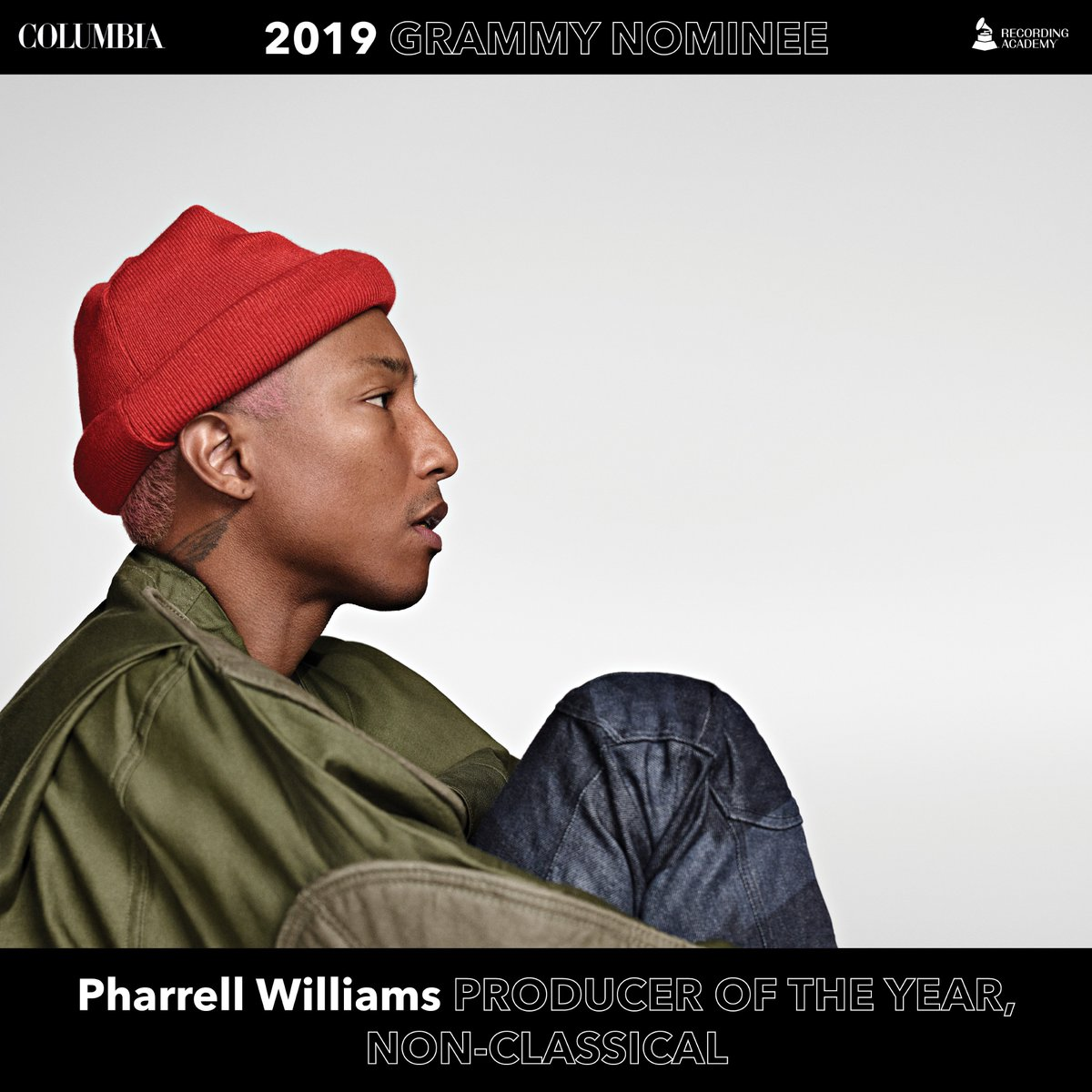 Congratulations to @Pharrell on his #Grammy nomination for Producer Of The Year, Non-Classical! #GRAMMYs