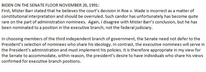 In addition, while explaining his support for William Barr's nomination on the Senate floor in Nov of 1991, here's how  explained his support even though Barr said he believed the court's decision on Roe v. Wade was incorrect and should be overruled: https://t