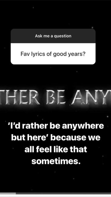 Fã: Parte favorita da letra em #GoodYears? MKYL: I'd rather be anywhere but here, because we all feel like that sometimes. Photo