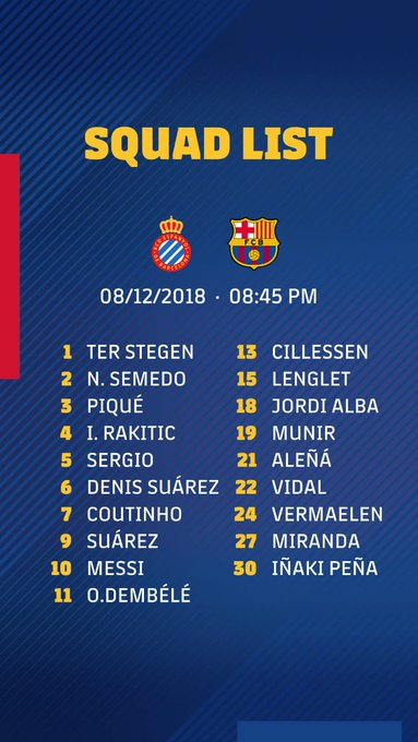 Suarez is back for the Catalan derby while Arthur is not included in the squad he is likely to play last UCL group stage match against Spurs at Camp Nou #ForçaBarça #EspanyolBarça Photo