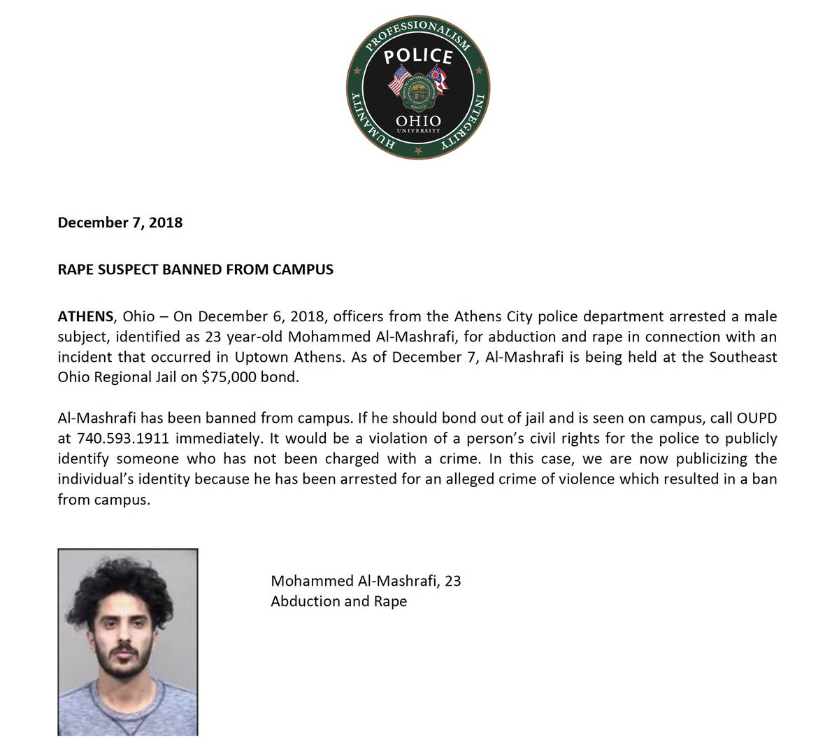 Please see attached statement regarding a recent rape suspect who is banned from campus.