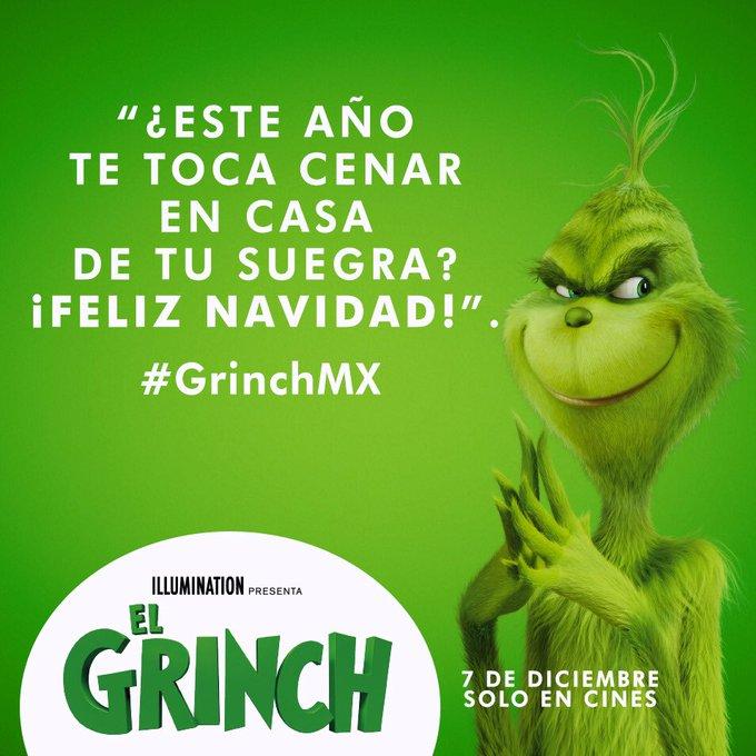 Etiqueta a tu espos@ si cenar con tu suegra te pone #Grinch . HOY SE ESTRENA!!! #EnModoGrinch Foto