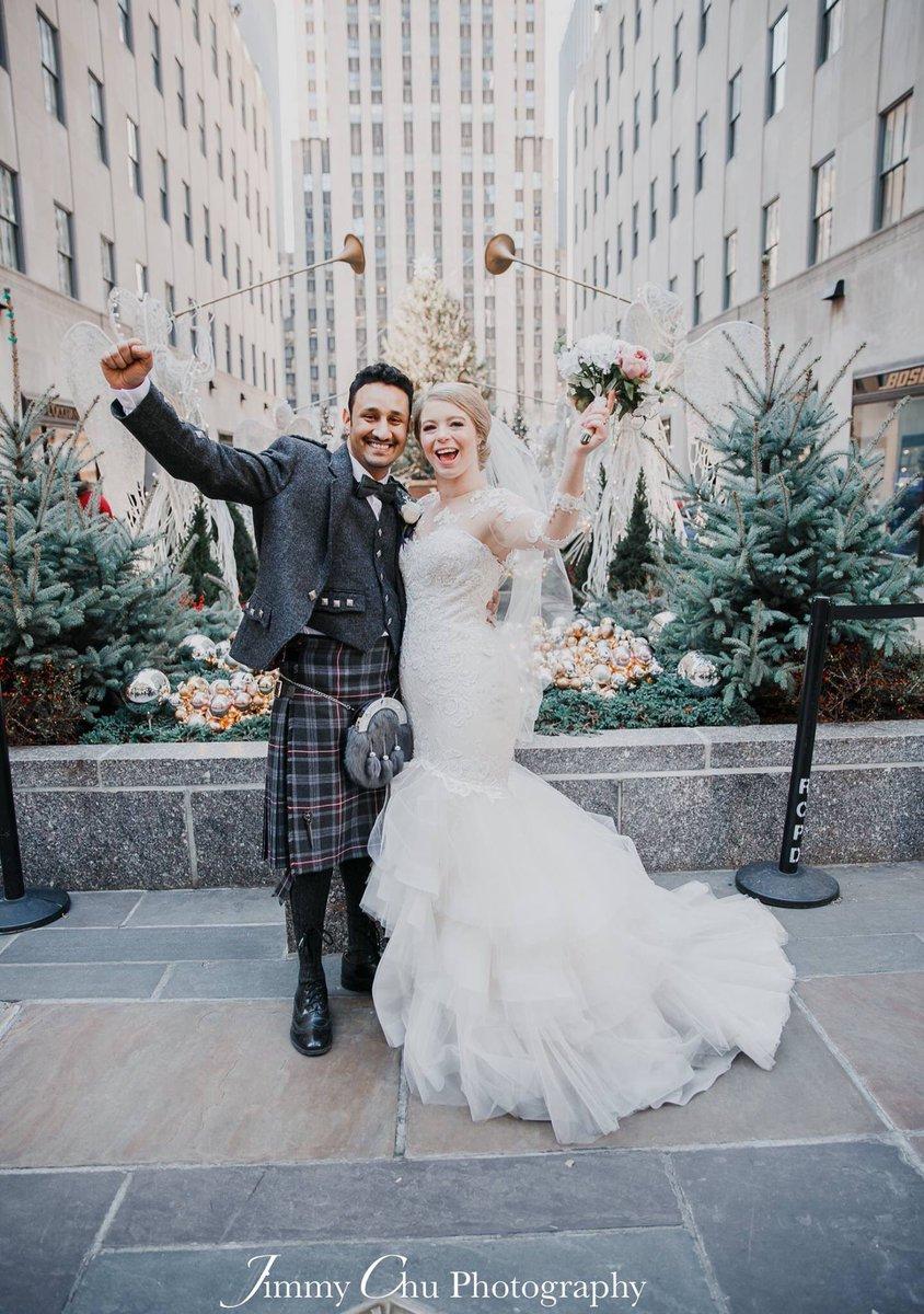Happy Anniversary to these two gorgeous soul mates Lynne & Kaz #elope #elopement #elopeinnyc #ido #bride #groom #scotland #weddingdress #wedding #christmaswedding #destinationweddng #rockefellercenter #shesaidyes @rockcenternyc