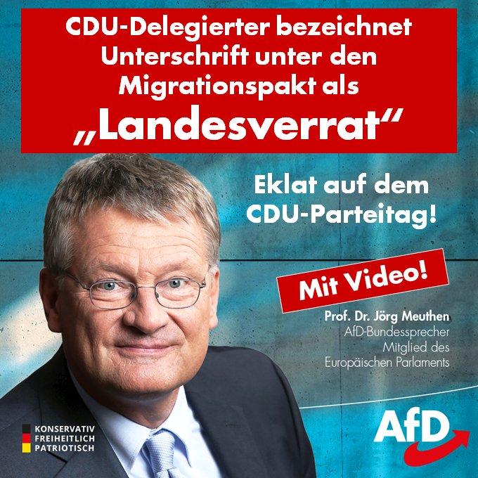 +++ Eklat auf #CDUbpt18: ❝Eine Unterschrift ist für mich Landesverrat!❞ +++ Der Delegierte Eugen #Abler greift #Merkel wegen Ihrer geplanten Unterschrift unter den #Migrationspakt scharf an: #KrampKarrenbauer #AKK #CDUVorsitz #AFD #Merz ➡️ facebook.com/Prof.Dr.Joerg.…