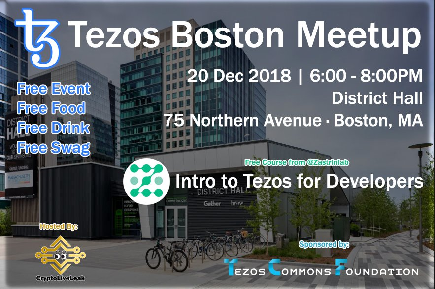 Swing by the #Tezos Boston Meetup hosted by @CryptoLiveLeak on Dec. 20 for an intro to the @zastrinlab Tezos Developers course!