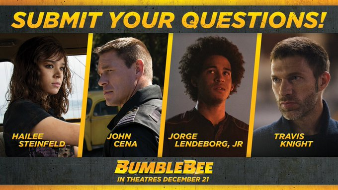 Submit your questions now for @HaileeSteinfeld, @JohnCena, Jorge Lendeborg, Jr, and #BumblebeeMovie director Travis Knight for a chance to have your question answered here! Photo