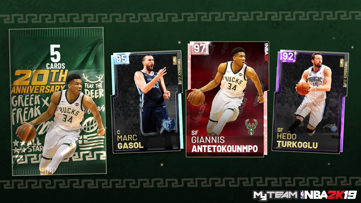 Is the #NBA2K19 Giannis Antetokounmpo 20th Anniversary Pack the G.O.A.T.? Fire up @NBA2K_MyTEAM mode to find out: https://xbx.lv/2zMRrS6
