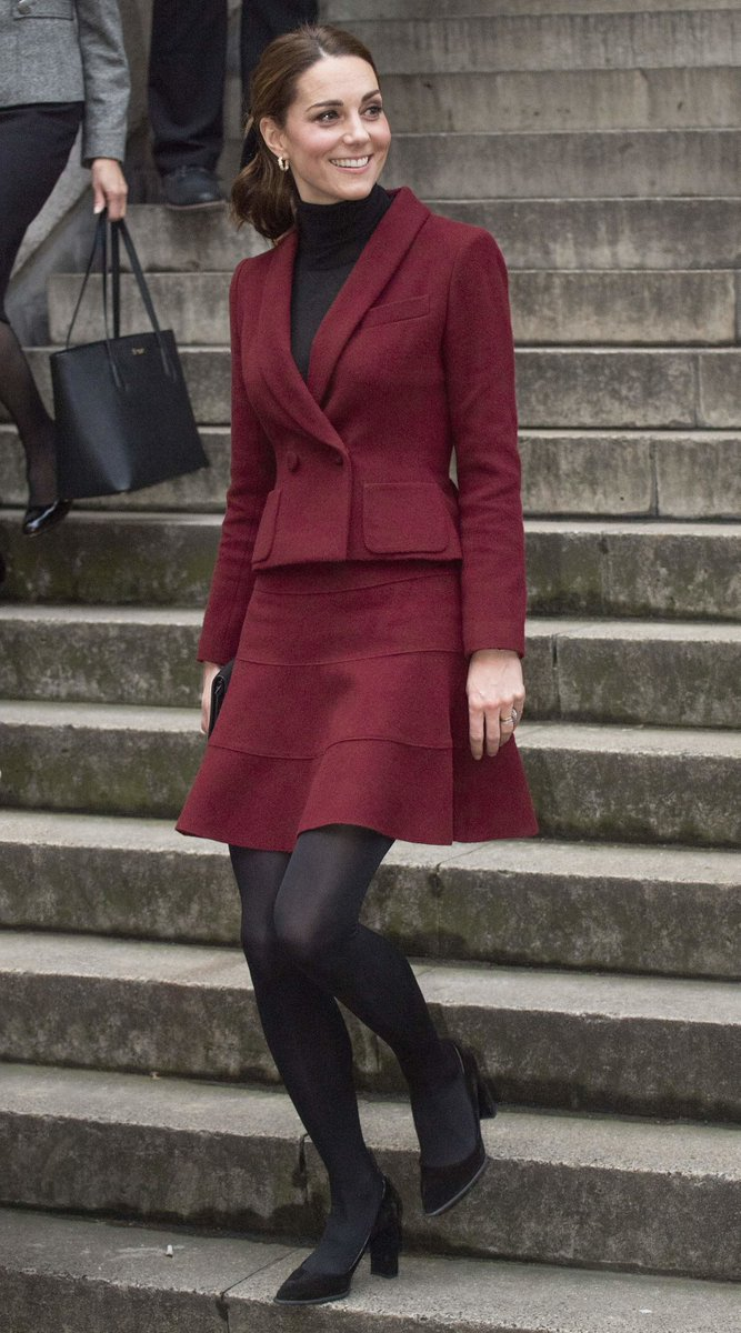 Kate Middleton's beautiful legs are on display in a short skirt and dark opaque #pantyhose ... More here >> http://ow.ly/jICo30mTExz