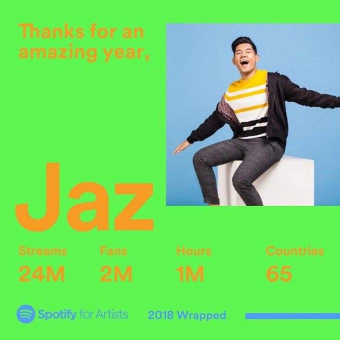 Terima kasih semuanya yang sudah dengerin lagu-lagu Jaz selama 2018 ini 💚 #Terbaik2018 #spotifywrapped Photo