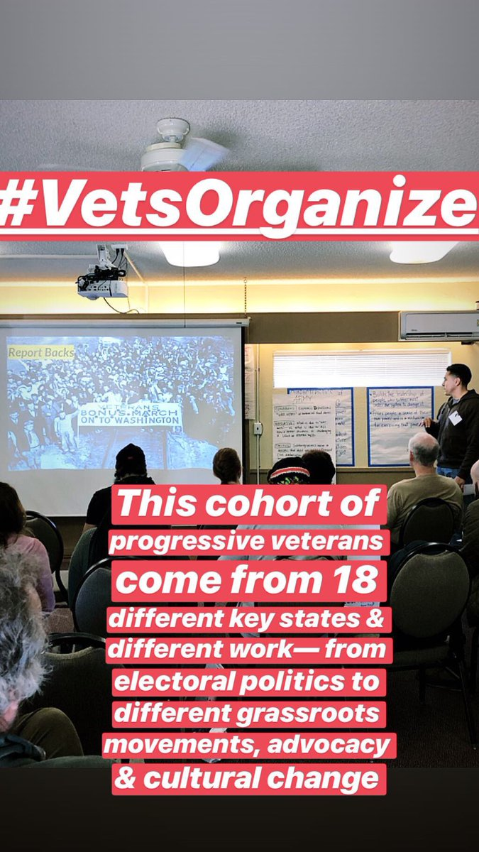 *So many* incredible veterans in this cohort. This cycle we received 3x's more applications including a couple of international submissions. It's always so moving & powerful to see what too many say is impossible & hope embodied in this room #VetsOrganize