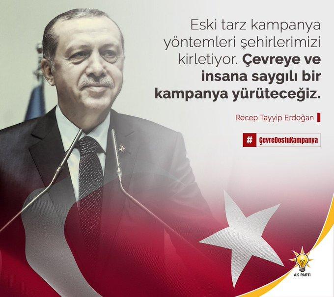 Cumhurbaşkanımız Sn. @RT_Erdogan'ın liderliğinde ilklerin partisi AK Parti olarak Türkiye'nin çevreye ve insana saygılı ilk seçim kampanyası; #ÇevreDostuKampanya'mız ♻️ ile birçok israf kaleminden kurtulacağız ve şehirlerimizde gürültü ve görüntü kirliliğinin önüne geçeceğiz. Photo