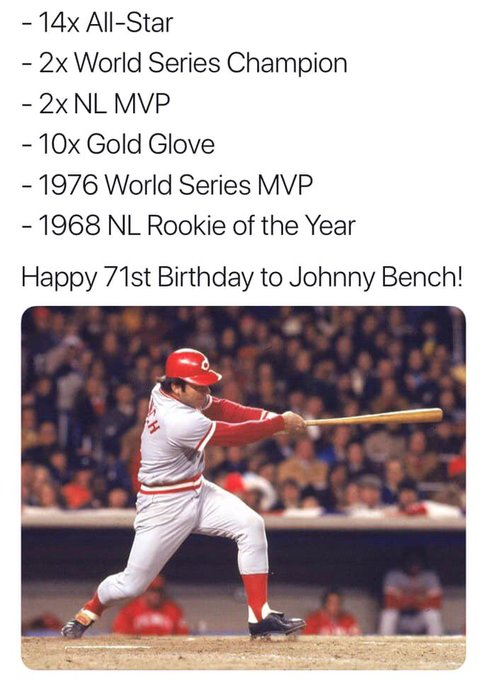 Happy birthday, JT Realmuto! Wait a minute. That s Johnny Bench!