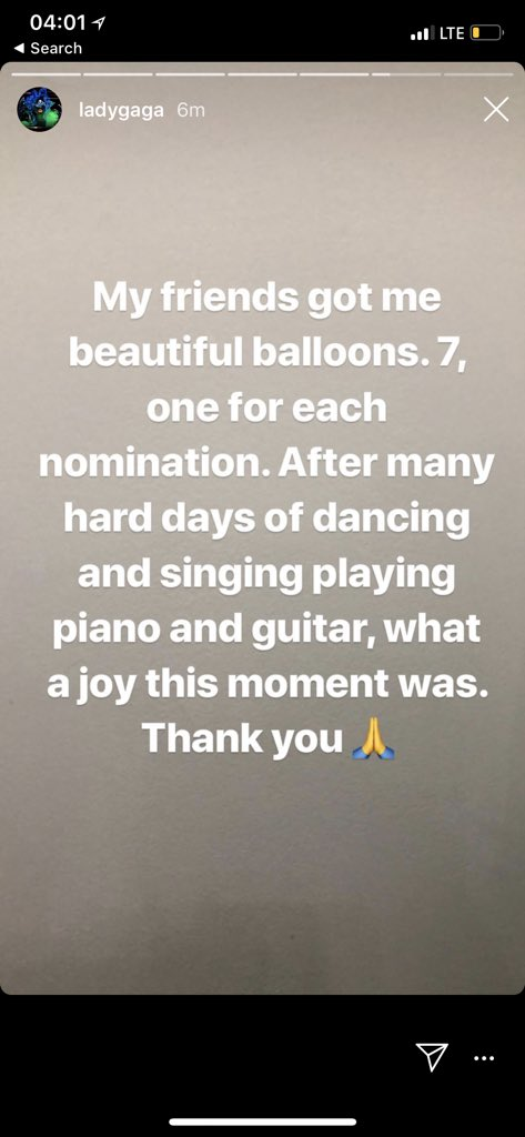 Gaga's friends surprised her with 7 balloons today! They represent her 2 #GoldenGlobes and 5 #Grammys  nominations that she received this week. <br>http://pic.twitter.com/ztQXiJIhyO
