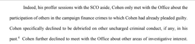 Prosecutors today saying, I believe, between the lines: We wanted Cohen to rat out the Russian mob. We really, REALLY wanted Cohen to rat out the Russian mob. Photo