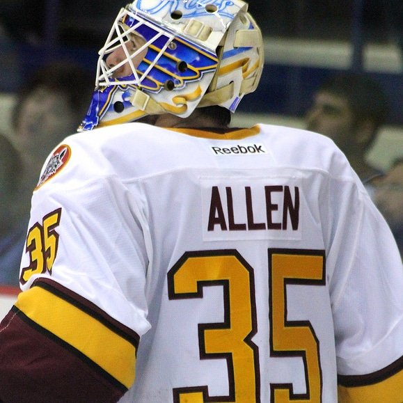 Congrats to former @Chicago_Wolves goaltender Jake Allen on getting his 17th shutout as a @StLouisBlues, Jake Allen moved past legendary goaltender Glenn Hall for third on the St. Louis Blues all-time shutout list. Way to go Jake! #TheWolfPack25Years Photo
