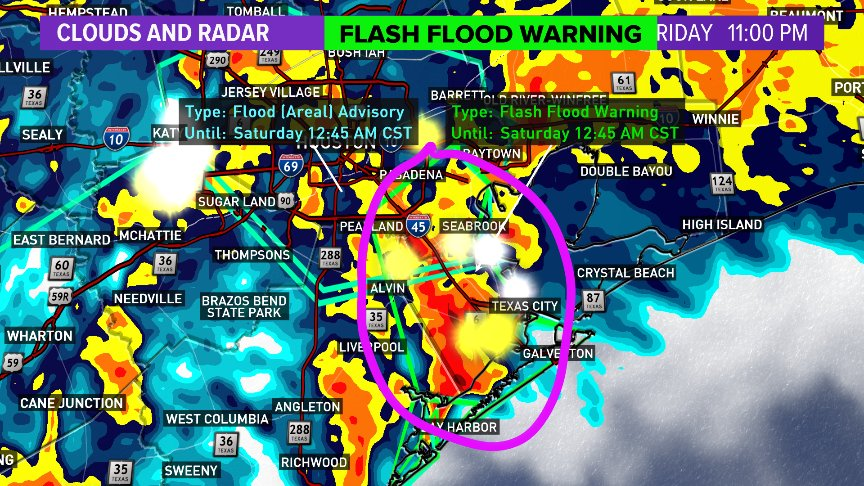 Rainfall Rates Exceeding 2 Per Hour Will Cause Widespread Street Flooding Form Seabrook To League City Texas