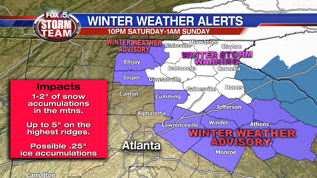 UPDATE @fox5atlanta Storm ALERT: New Winter Weather Advisory for NE metro Atlanta &amp; north Georgia MTNS. The main concern in these areas will be ice accumulation. Snow accumulation is also possible, but that&#39;s more likely in the Winter Storm Warning #gawx <br>http://pic.twitter.com/nq9wJvaOEF