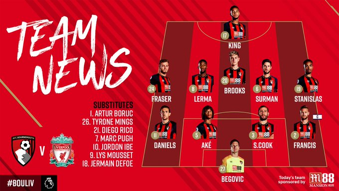 🚨 TEAM NEWS 🚨 Here it is! Our team to face @LFC in the @premierleague at Vitality Stadium. 🔘 Surman and Stanislas start 🔘 Wilson out injured 🔘 Pugh returns to bench Listen live 📻: #afcb 🍒 Photo