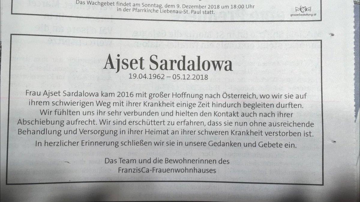 Traueranzeige. In der Kleinen Zeitung, heutige Ausgabe.