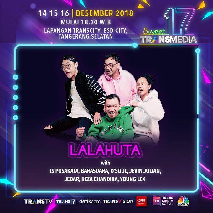 Rayakan malamnya millenials pada pesta lintas generasi di #Sweet17TRANSMEDIA ! 14, 15, 16 Desember 2018 LIVE dari Lapangan TRANSCITY d/h Sunburst, BSD City, Tangerang Selatan. Open Gate: WIB. Photo