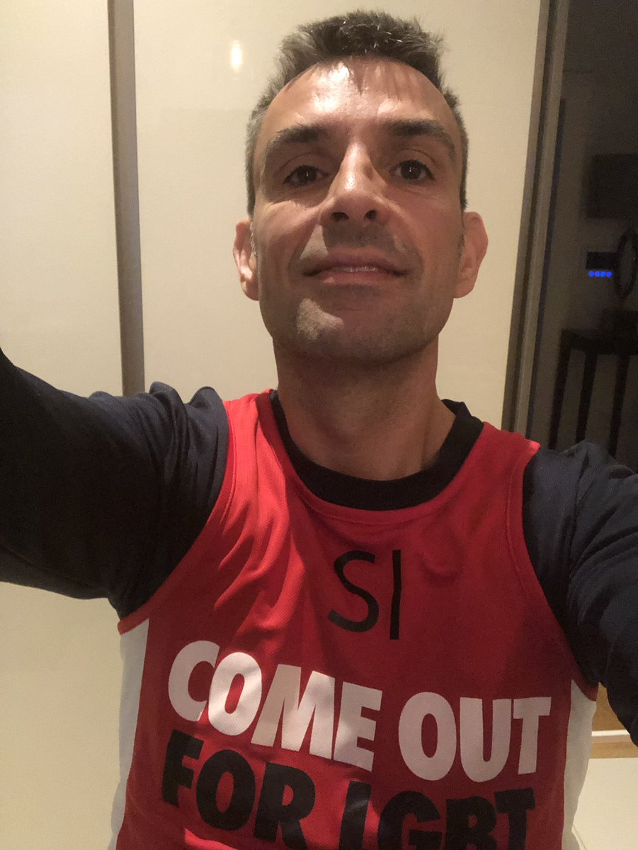 Off to do a half marathon in Victoria Park repping @stonewalluk and hoping i didn't miss the small print saying its a Santa Dash! (Still think calling 13.1 miles half of anything is a travesty!)