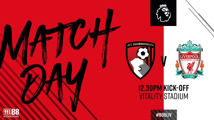 Matchday against the 🆚 @LFC 🏟️ Vitality Stadium ⏰ GMT 🏆 @premierleague 📻 #️⃣ #BOULIV 🌧️ Gales and rain Photo