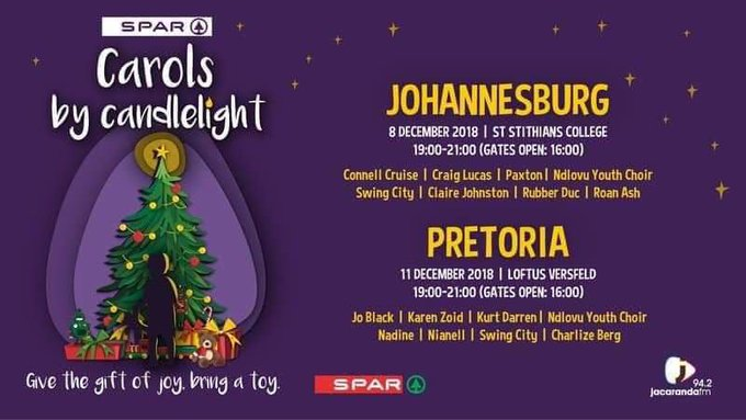Looking forward to this event! Jacaranda Carols by Candlelight 11 Dec Loftus - Entry is free, but, in spreading the love to where it is needed most, bring a toy which will be delivered to selected charity organizations #JacaCarols Photo