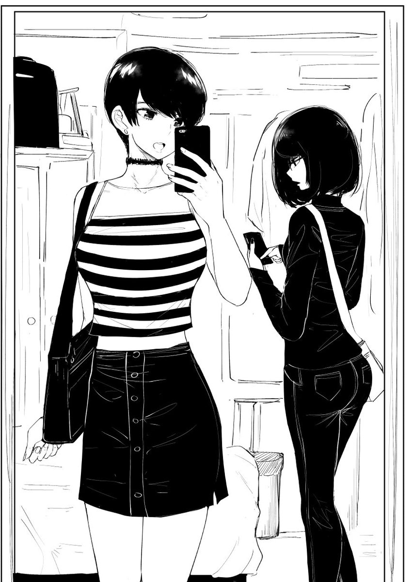 'The car's arrived. Let's head down, sis.' 'A second. Gotta make an #ootd post for IG' 'uh..kay' #olchan #doodle