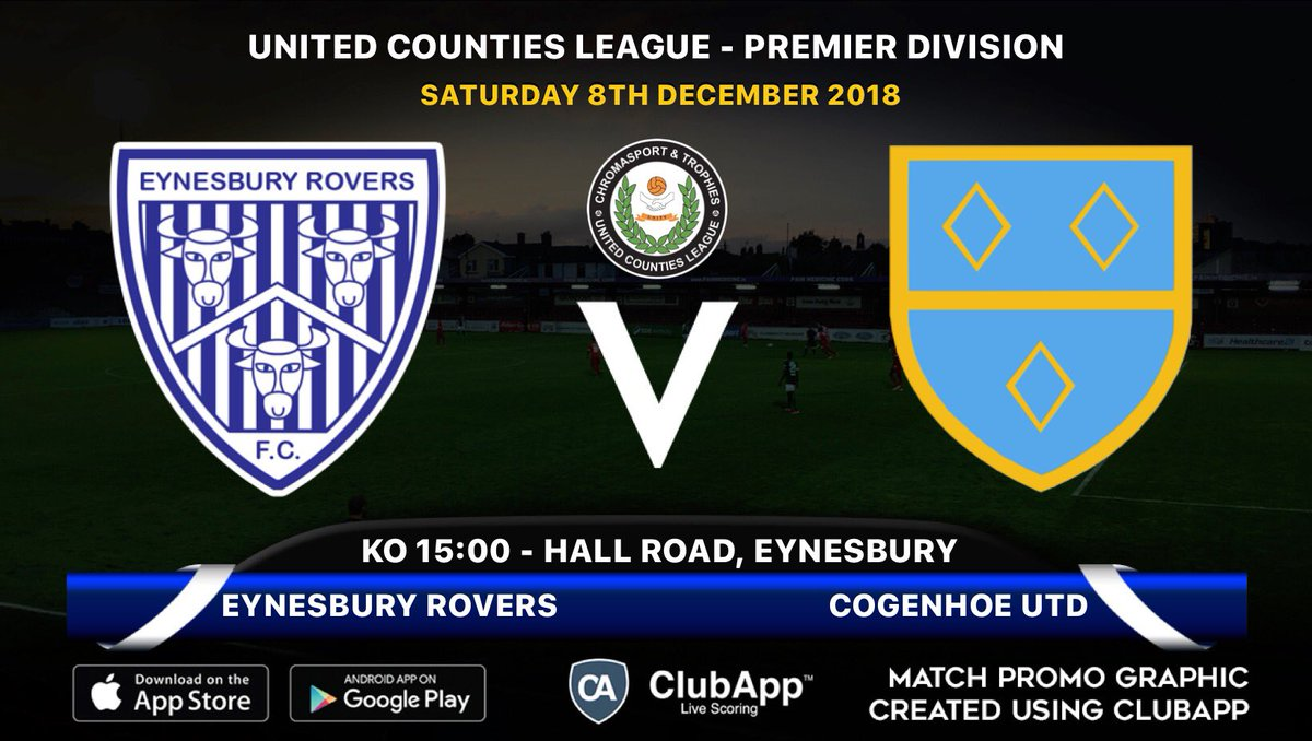 🤩 TODAY   ⚽️ @FcEynesbury v @cogenhoeunited  🏆 @utdcos Premier Division. 🗓 Saturday 8th December  🕒 Kick off is 3:00pm. 💷 £6 adults / £3 concessions. 📍 PE19 2SF #nonlge #Nonleague #LocalFootball #Eynesbury #Cogenhoe