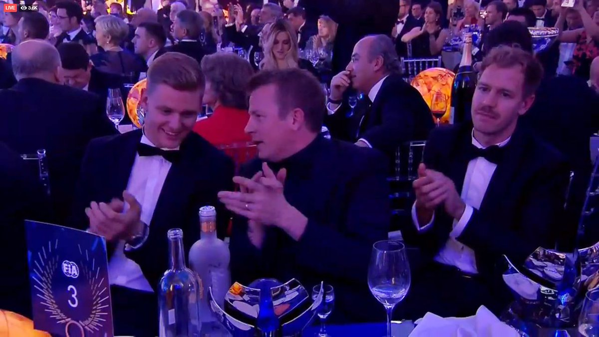 Drunk Kimi with fans after FIA Gala