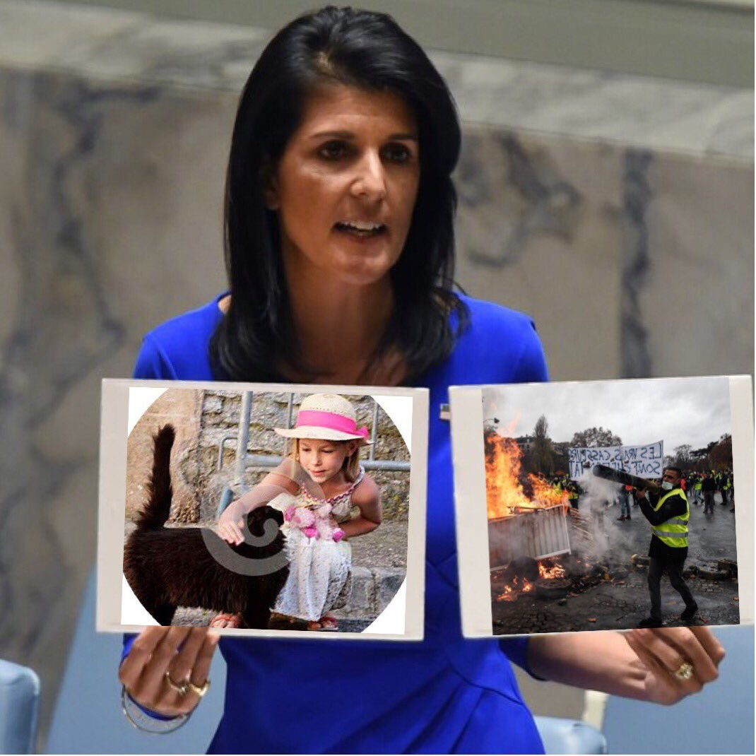 @abedoux Please save the French people mama Nikki Haley. When will the UN act? #ParisAttacks #YellowVests #GilletsJaunes<br>http://pic.twitter.com/856HUKiAl8