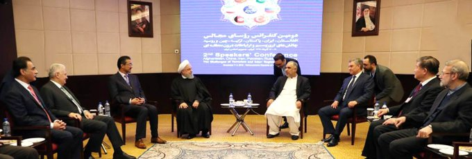 In a meeting with Iranian President Hassan Rouhani in Tehran @HassanRouhani #2ndSpeakersConference #Tehran Фото