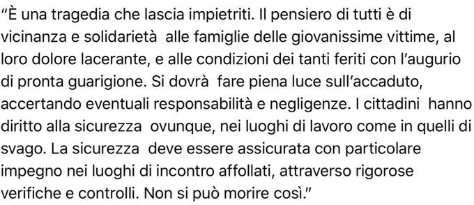 Il Presidente #Mattarella in riferimento al gravissimo incidente in una discoteca in provincia di #Ancona ha dichiarato: Foto