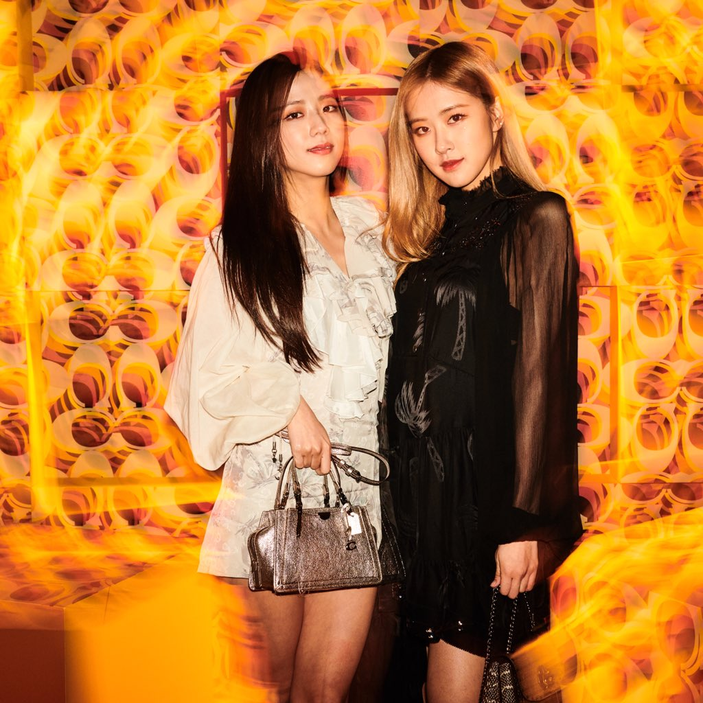 A little night magic. At tonight's Pre Fall 2019 show in Shanghai, #BlackPink's Jisoo and Rosé. #Coach点亮魔都 #CoachShanghai