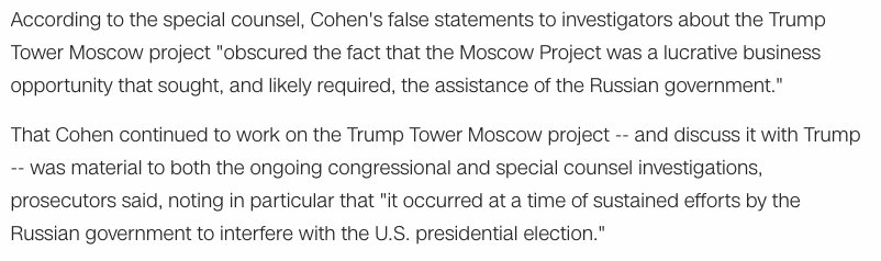 Muellers sentencing memo explained why the special counsel believes the Trump Tower project in Moscow is relevant to Russias interference in the 2016 campaign: cnn.com/2018/12/07/pol…