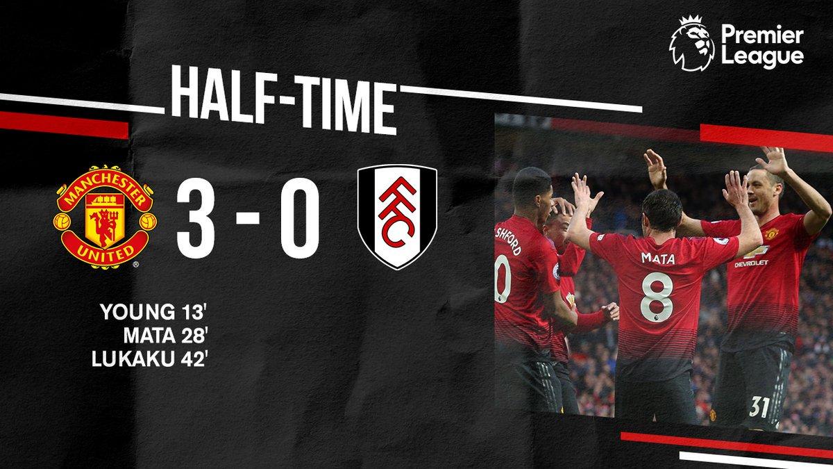 نهاية الشوط الاول.  النتيجة 3-0 لمصلحة #يونايتد
