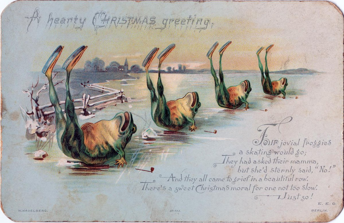 vintage christmas card showing four ice skating frogs in a row falling on their backs