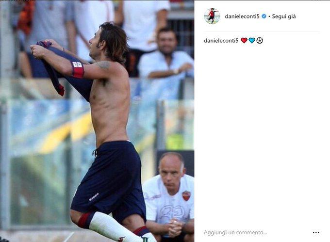 Daniele Conti, detto Figlio di Bruno, rasserena gli animi su Instagram. Indovinate a chi segnò quel gol? #CagliariRoma @delinquentweet Foto