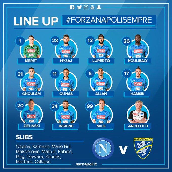 ⚽ #NapoliFrosinone 📌 XI 🇮🇹 @SerieA 💙 #ForzaNapoliSempre Foto