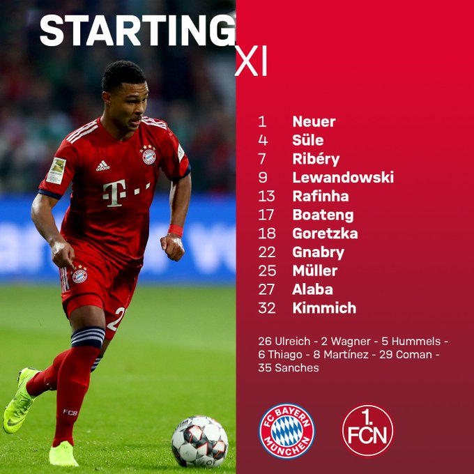 Our STARTING XI and Subs for the Derby! 💪 #MiaSanMia #FCBFCN Foto