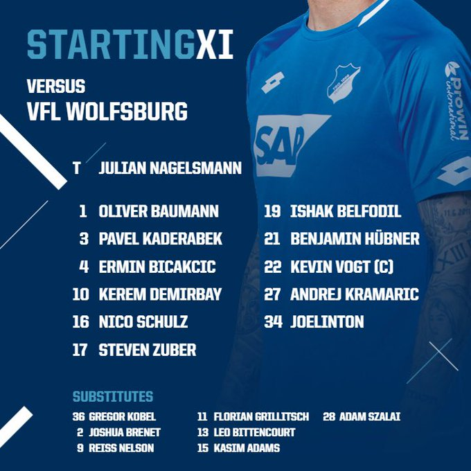 TEAM NEWS! 💥 Benjamin Hübner returns to the line-up as #Hoffenheim take on Wolfsburg away from home! 👏 #WOBTSG Foto