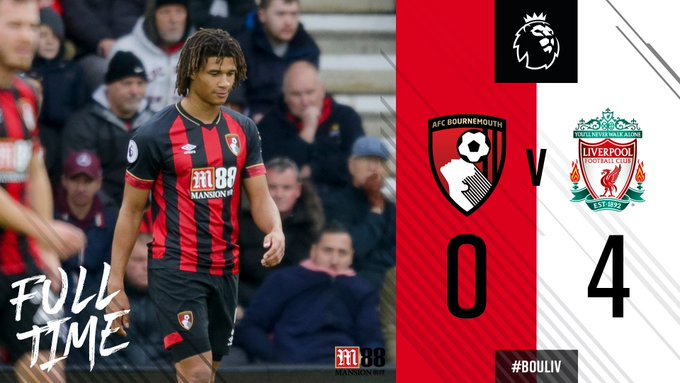 FT | Game 😔 Liverpool clear and deserved winners. Salah (3) and a Steve Cook own goal the difference. #BOULIV 🍒 0-4 ⚪ Photo