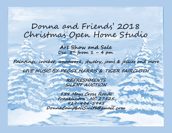 Arts Show and Sale starting at 1pm today (Saturday) in Franklinton (Franklin County) North Carolina Paintings, crochet, woodwork, jewelry, & other locally-made goods. Meet local artists, shop for gifts, and listen to live music. Local author books also on sale. Photo