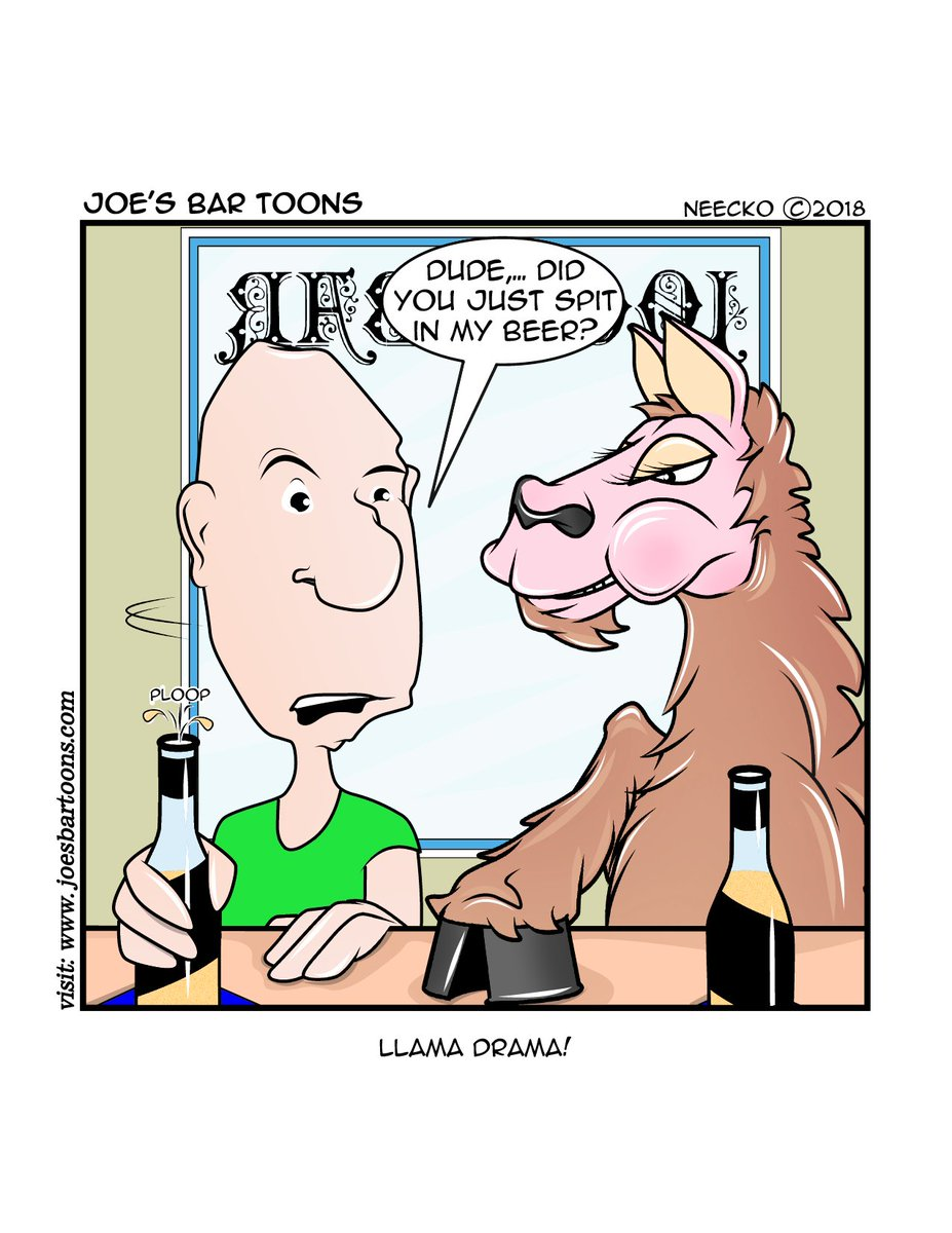 2day&#39;s Joe&#39;s Bar Toon is in celebration of tomorrows National Llama Day! So celebrate all you want since its a weekend holiday, but I do suggest that you don&#39;t sit next to one at the bar!... &amp; don&#39;t forget to ReTweet. #Llama #lol #beer #craftbeer #SaturdayThoughts #MorningJoe <br>http://pic.twitter.com/Ot4G9Xp57X